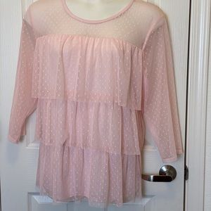 PINK LACE TIER SHIRT BY LANE BRYANT * 26/28 *